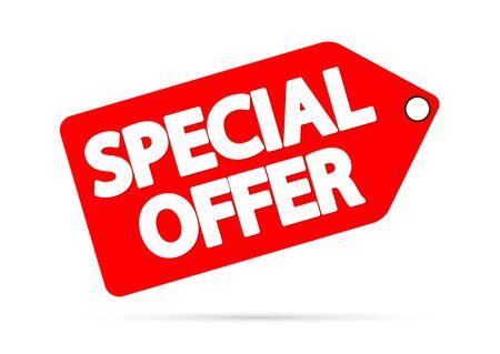 Oferta specjalna, baner rabatowy, szablon projektu tagu sprzedaży, ilustracja wektorowa