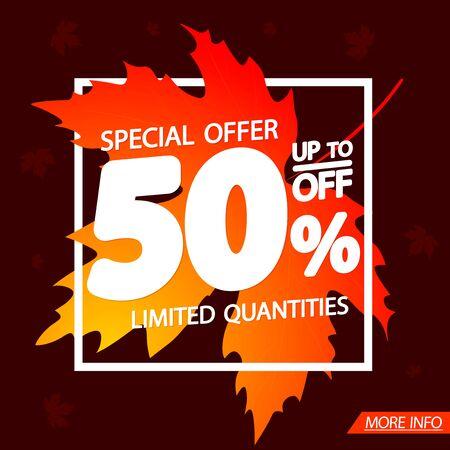 Autumn Sale up to 50% off, poster design template, special offer, vector illustration Illusztráció