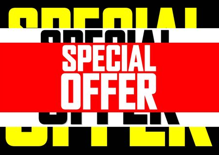 Special offer, sale poster design template, horizontal banner, vector illustration