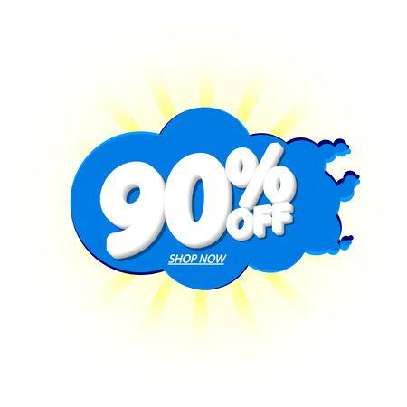Sale 90% off, bubble banner design template, discount tag, app icon, vector illustration