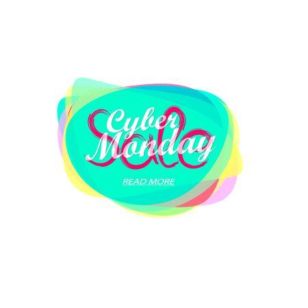 Cyber Monday Sale tag, bubble banner design template, app icon, vector illustration