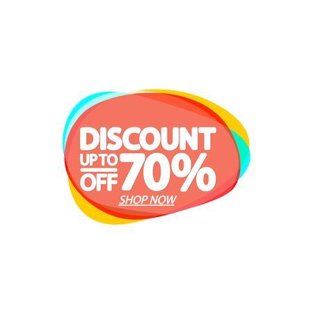 Sale 70% off, bubble banner design template, discount tag, app icon, vector illustration Illusztráció