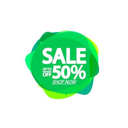 Sale 50% off, bubble banner design template, discount tag, app icon, vector illustration