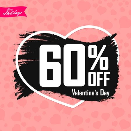 Valentines Day Sale 60% off, special offer, banner design template, discount tag, app icon, vector illustration
