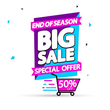 Big Sale, 50% off, super promotion banner design template, discount tag, vector illustration Illusztráció