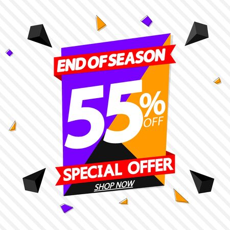 Sale 55% off, special offer banner design template, discount tag, app icon, vector illustration