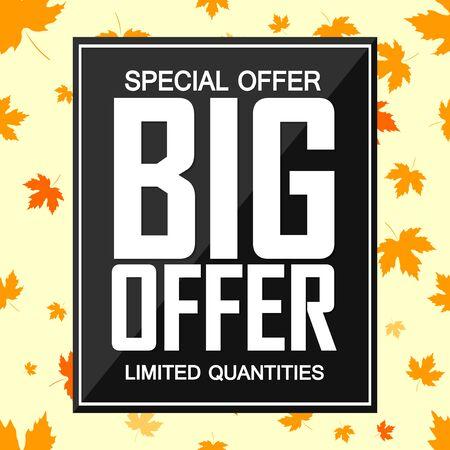 Big Autumn Sale, special offer, poster design template, Fall discount banner, vector illustration Illusztráció