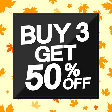 Big Autumn Sale, Buy 3 get 50% off, poster design template, Fall discount banner, vector illustration