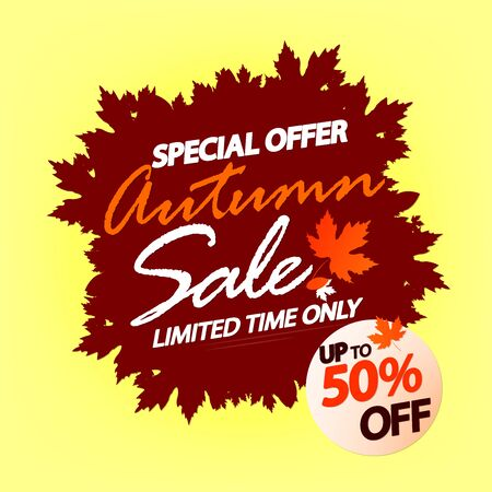 Big Autumn Sale, poster design template, special offer, up to 50% off, Fall discount banner, vector illustration