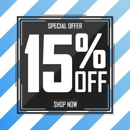 Sale 15% off, poster design template, special offer, vector illustration