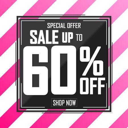 Sale 60% off, poster design template, discount banner, special offer, final deal, limited time only, vector illustration Illusztráció