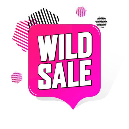 Wild Sale, promotion tag design template, discount speech bubble banner, app icon, vector illustration