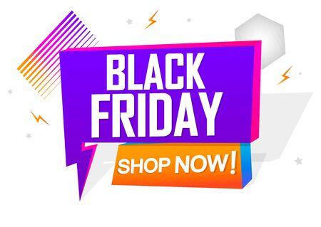Black Friday Sale speech bubble banner design template, discount tag, app icon, vector illustration