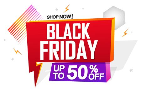 Black Friday, Sale speech bubble banner design template, up to 50% off, mega discount tag, app icon, vector art and illustration
