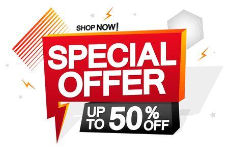 Special Offer, up to 50% off, sale speech bubble banner, discount tag design template, vector illustration Illusztráció