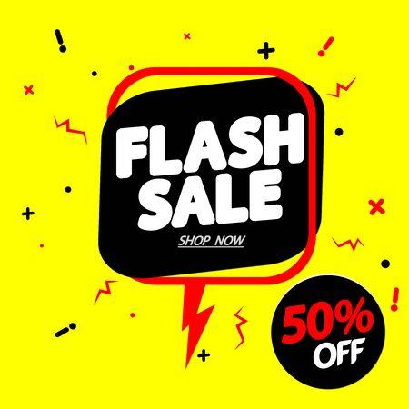 Flash Sale 50% off, speech bubble banner design template, discount tag, vector illustration