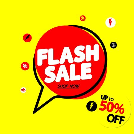 Flash Sale up to 50% off, speech bubble banner design template, discount tag, vector illustration