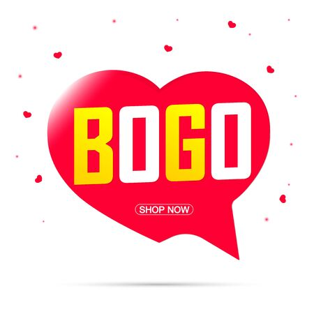 BOGO, sale banner design template, buy 1 get 1 free, discount speech bubble tag, vector illustration