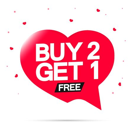 Buy 2 Get 1 Free, sale banner design template, discount speech bubble tag, vector illustration