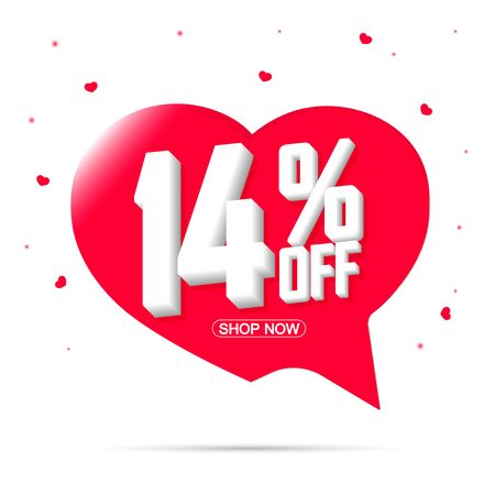 Sale 14% off tag, speech bubble banner design template, discount tag, app icon, vector illustration Иллюстрация