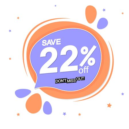 Sale 22% off tag, speech bubble banner design template, discount tag, app icon, vector illustration
