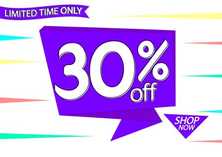 Sale 30% off tag, speech bubble banner design template, discount tag, app icon, vector illustration