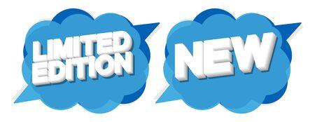 Limited Edition and New banners design template, speech bubble promotion tags, vector illustration Vektoros illusztráció