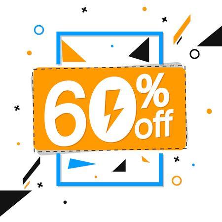 Flash Sale 60% off, banner design template, discount tag, vector illustration