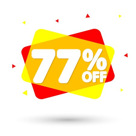 Sale 77% off, bubble banner design template, discount tag, vector