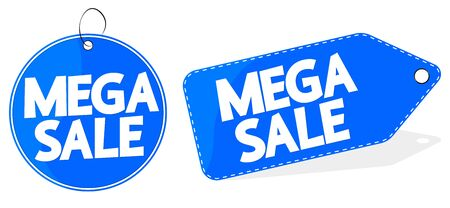 Mega Sale, offer tag, discount banner design template, vector illustration