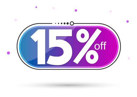Sale 15% off tag, discount banner design template, vector illustration Vektorové ilustrace