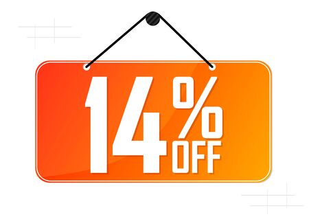 Sale 14% off tag, discount banner design template, vector illustration