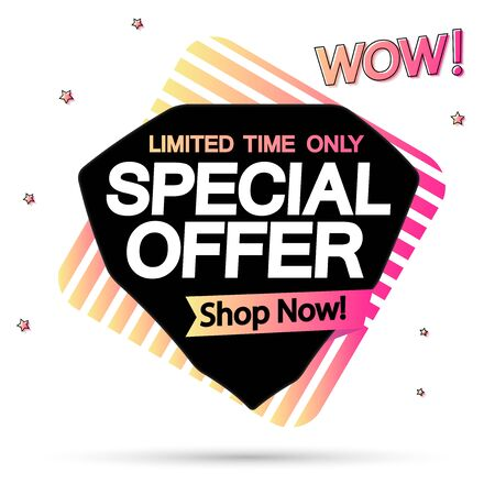 Special offer, discount banner, sale tag design template, vector illustration