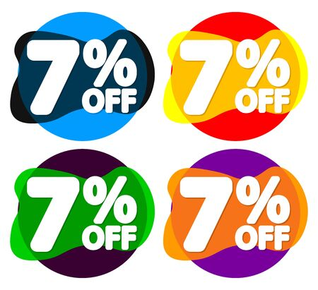 Set Sale 7% off bubble banners, discount tags design template, vector illustration