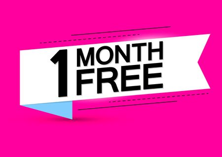 1 Month Free, sale tag design template, offer banner, white ribbon, vector illustration