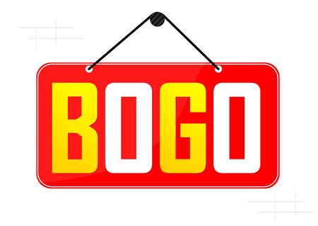 BOGO, Buy 1 Get 1 Free, Sale banner design template, discount tag, app icon, vector illustration