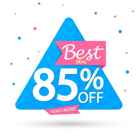 Sale 85% off, banner design template, discount tag, app icon, vector illustration