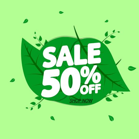 Spring Sale 50% off, banner design template, discount tag, app icon, vector illustration