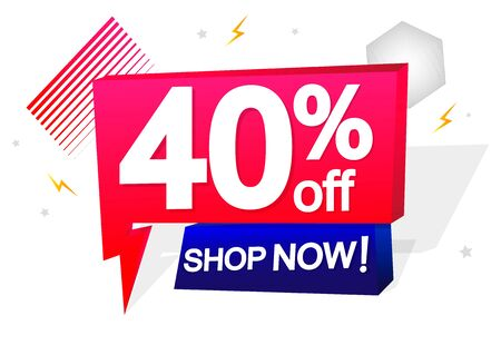 Sale 40% off tag, speech bubble banner design template, discount tag, app icon, vector illustration