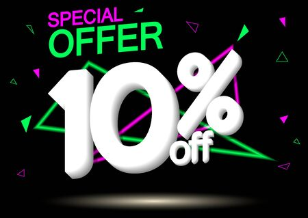 Sale 10% off, poster design template, discount banner, special offer, vector illustration Illustration