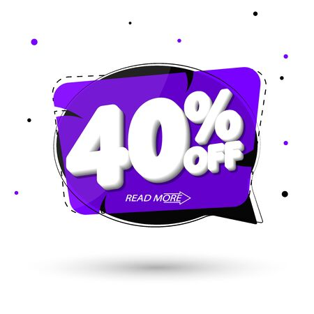Sale 40% off, discount speech bubble banner design template, promo tag, vector illustration