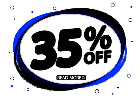 Sale 35% off, discount banner design template, promo tag, vector illustration Illustration