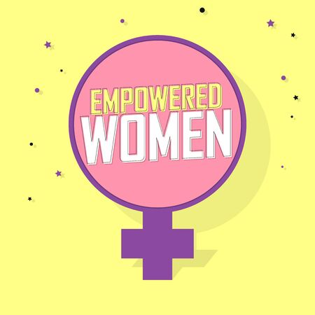 Empowered Women, banner design template, vector illustration Vetores
