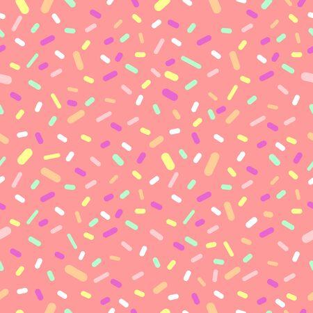 Donut glaze with sprinkles seamless pattern, tasty poster design template, vector illustration