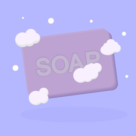 Soap bar with foam, isolated object design template, vector illustration 向量圖像