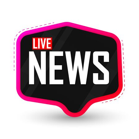 Live News, speech bubble banner design template, vector illustration Иллюстрация