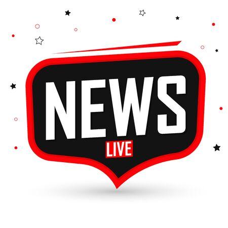 Live News, speech bubble banner design template, vector illustration Stock Illustratie