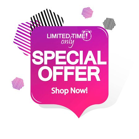 Special Offer, sale speech bubble banner design template, discount tag, app icon, vector illustration