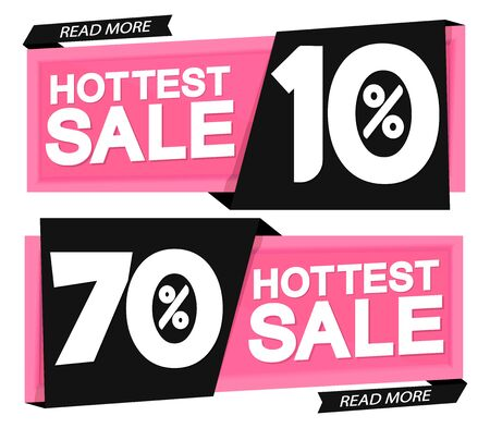 Set hottest sale banners design template, discount tags, vector illustration Illustration