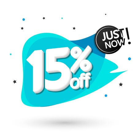 Sale 15% off, bubble banner design template, discount tag, vector illustration